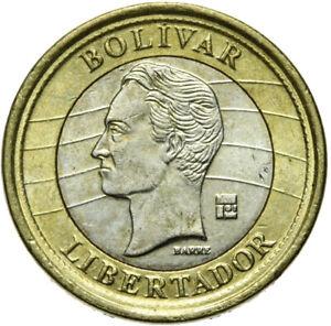 Venezuela-Muenze-1-Bolivar-2007-kleine-Ziffer-1-Bimetall