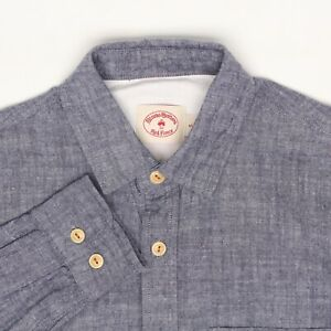 Brooks-Brothers-Red-Fleece-Mens-Chambray-Shirt-S-Solid-Blue-Button-Front-Cotton