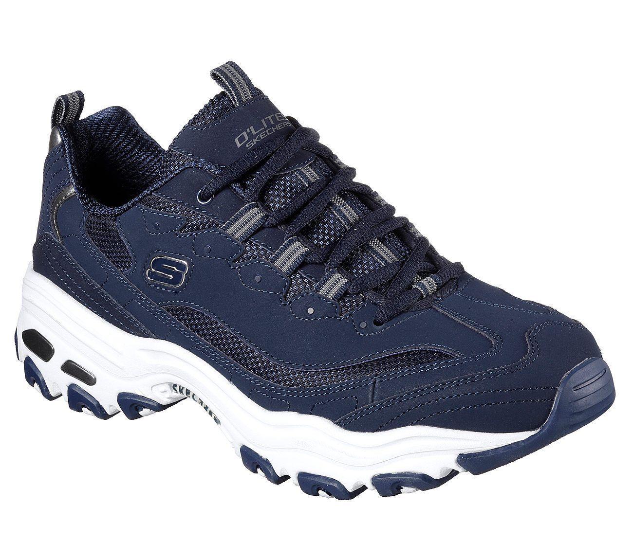Para Hombre Azul Marino Skechers D'Lites Zapatos Tenis 52675 Memory Cuero Casuales acolchado suave