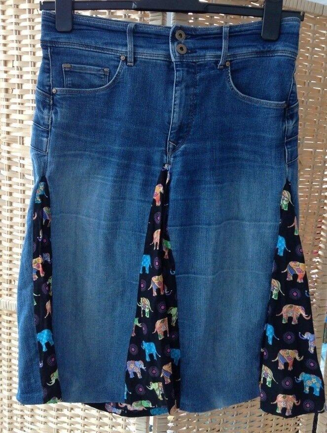 Ladies SALSA Size 10 bluee Denim 'secret' Skirt Indian Elephant Print Pleat