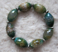 Faceted Fire Agate Gemstones Bead Bracelets - Unisex.