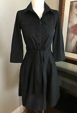 BANANA REPUBLIC Size 2 Black Button Down Dress pleated flare skirt attached belt