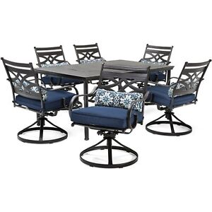 Awe Inspiring Details About 7 Piece Outdoor Patio Set Dining Table 6 Swivel Rockers Garden Furniture Blue Andrewgaddart Wooden Chair Designs For Living Room Andrewgaddartcom
