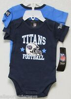 Nfl Infant Onesie-set Of 2- Tennessee Titans 0-3 Months