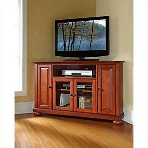 Crosley Furniture Alexandria 48-Inch Corner TV Stand, Classic Cherry