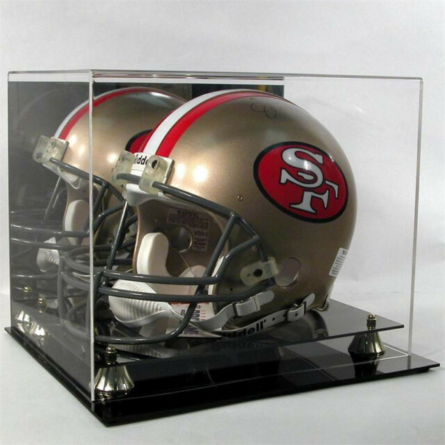 Football Helmet Display Case Black Base Gold Risers  NFL NCAA 100% UV