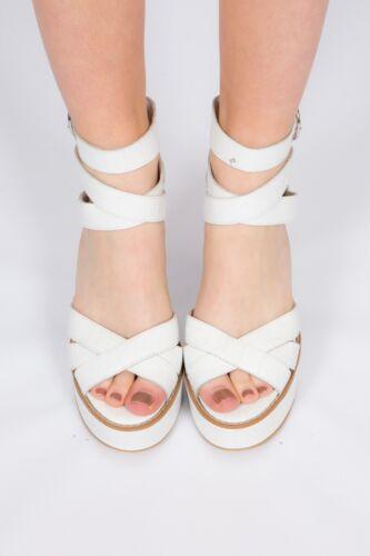 6 nuovo con Scarpe raschietto similpelle bianco tacco taglia similpelle look piattaforma premium PSwd0Srx