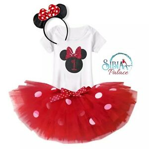 Fabulous Red Black Minnie Mouse Theme Cake Smash 1St Birthday Outfit Funny Birthday Cards Online Overcheapnameinfo