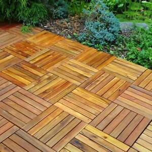 Details About Wood Interlocking Outdoor Deck Tiles 10 Pack 6 Slat Sf Ez Snap Together