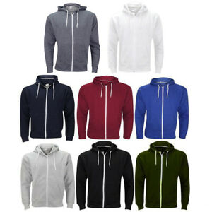 Mens-Zip-Up-Hoodie-Plain-American-Fleece-Sweatshirts-Jumpers-Big-Sizes-3XL-5XL