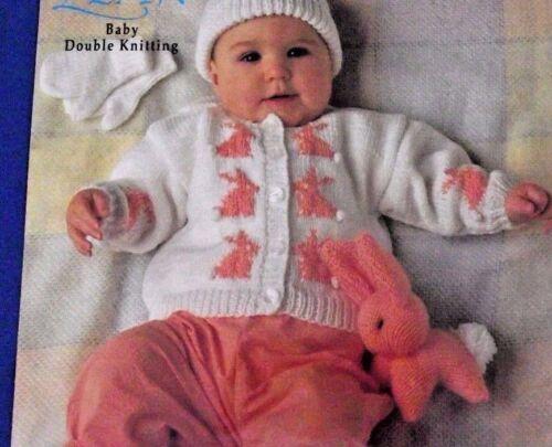 Bunny adorable bebé Motif Cardigan /& Mitones Sombrero /& Juguete DK Tejer patrón