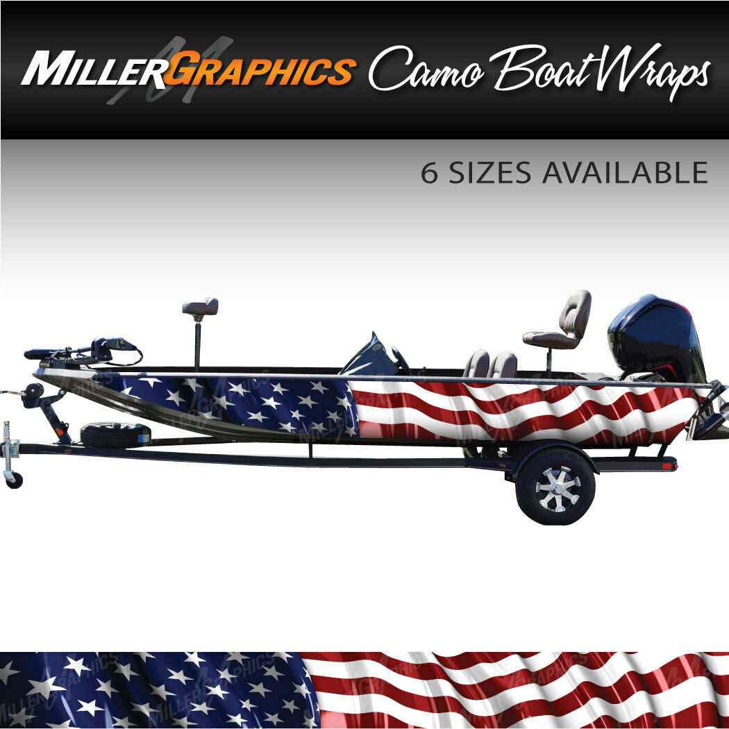 American  Flag Waving Boat Wrap Kit 3M Cast Vinyl - 6 Sizes Available  outlet online