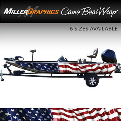 American Flag Waving Boat Wrap Kit 3m Cast Vinyl 6 Sizes Available Ebay