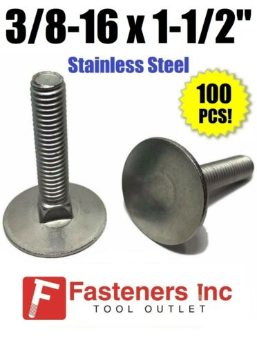 """Qty 100 3//8-16 x 1 1//2/""""  Stainless Steel Elevator Bolt Full Thread"""