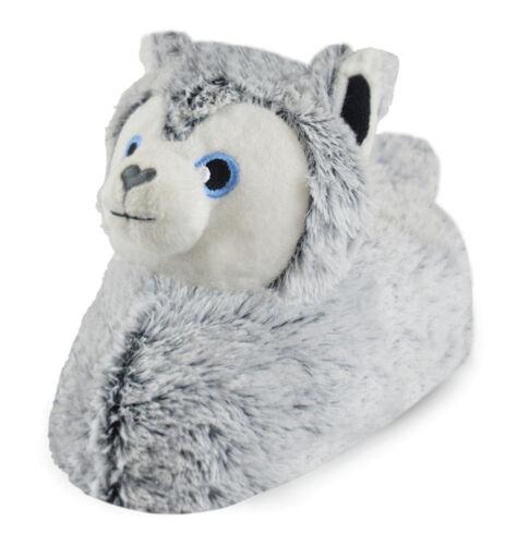 Kids Grey Husky Dog Plush Slippers Girls Boys Novelty Animal Character Booties