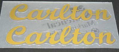 White with Black Outline and Gold inner outline Carlton Down Tube Decals