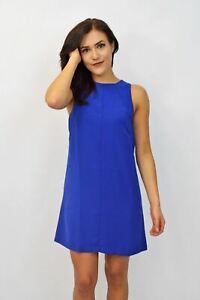 WAREHOUSE-Blue-Sleeveless-Summer-Work-Shift-Dress-SALE-Was-46