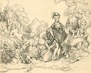 Harold Hope Read (1881-1959) - Pen and Ink, A Bourgeoisie Day Out