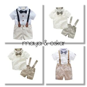 7f3fe14b485 Baby Boys Summer Formal Party Wedding Smart Outfit Braces Shorts Set ...