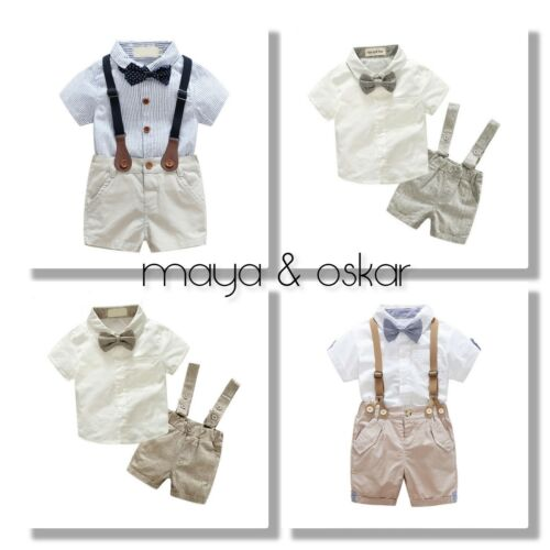 Baby Boys Summer Formal Party Wedding Smart Outfit Braces Shorts Set up to 3yrs