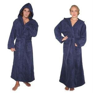 0e67106966 Mens Womens Turkish Cotton Terry Light Weight Hooded Long Bathrobe ...