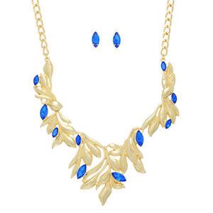 """Intellektuell 16 """" Blaue Strass Goldfarben Blatt Rebe Halskette & 1.6cm Ohrstecker Ohrringe Weder Zu Hart Noch Zu Weich"""