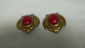 Vintage-80s-Retro-Chunky-Statement-Brass-Red-Cabochon-Clip-Earrings