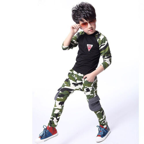 2PCS Baby Boys Camouflage Sports T-Shirt Tops Pants Set Kids Clothes Outfits