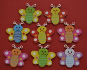 8-BUTTERFLY-Buttons-Wood-Craft-Scrapbooking-embellishment-DIY-Sew-Quilting