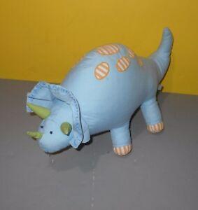 Pottery Barn Kids Blue Dinosaur Triceratops Dino Pastel Cloth Plush