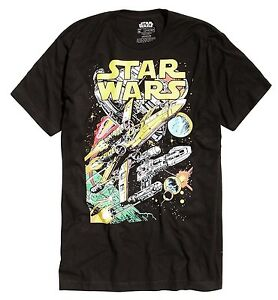 Star-Wars-X-Wing-Y-Wing-Space-Scene-Black-Men-039-s-T-Shirt-New
