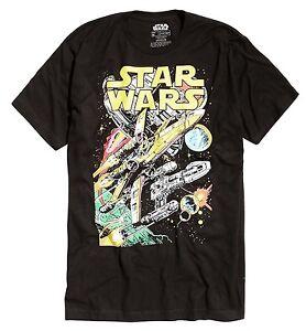 Star-Wars-X-Wing-Y-Wing-Space-Scene-Black-Men-039-s-T-Shirt-New