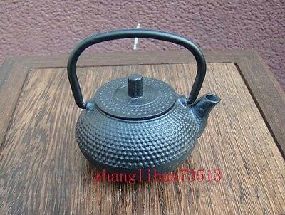 Friendly Collectible Handmade Carving Statue Teapot Copper Japanese Black Deco Art
