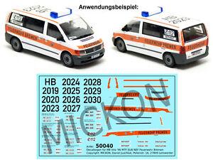 Mickon 50040 Decals MB Vito ELW NEF MTF Feuerwehr Bremen passend Herpa 1:87 H0