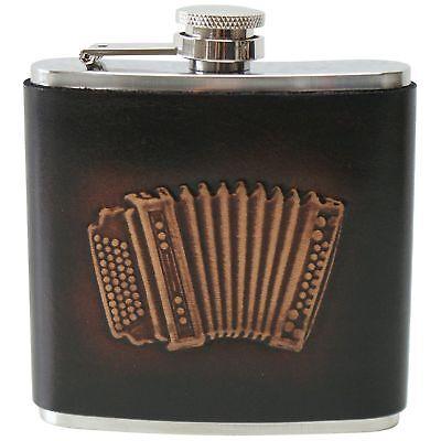Flachmann Trachtenflachmann Leder Zieharmonika Akkordeon Musiker Taschenflasche
