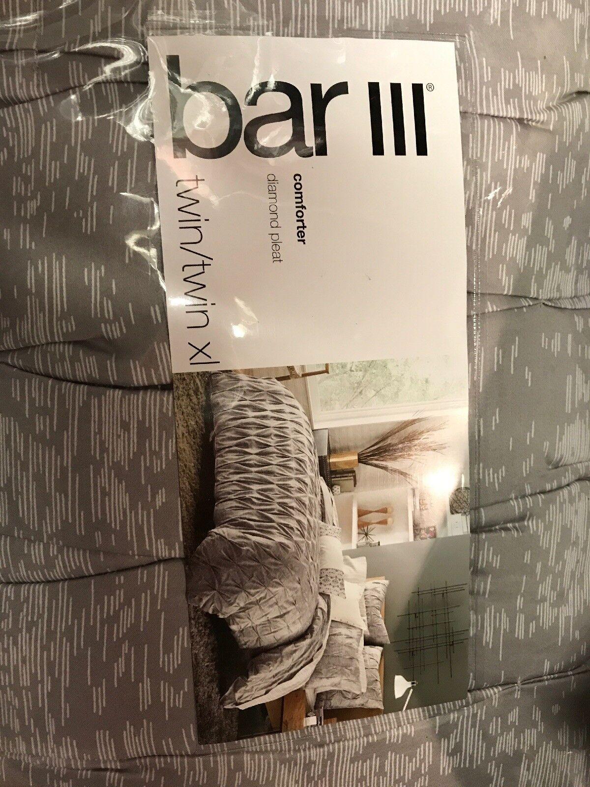 NEW Bar III Home Diamond Pleat Twin Twin XL Grey White Striped Comforter