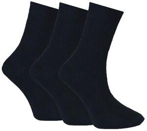 6-Pairs-Mens-Flexi-Top-Black-100-Cotton-Diabetic-Everyday-Socks-UK-Size-6-11