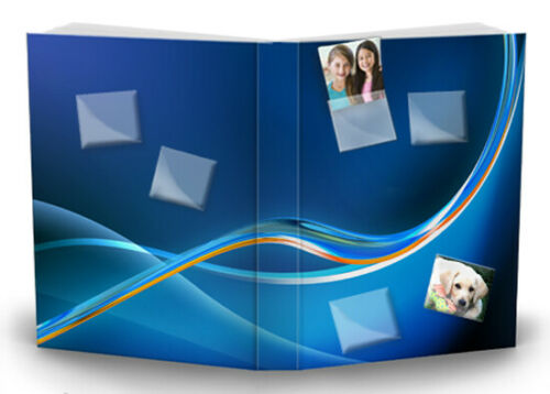 PhotoPocket Blue Customize Photograph Stretch Fabric Book Sox Cover Jumbo Size
