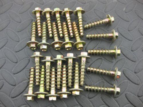 4 x Heavy duty wood fixing bolt 10 x 40 wide thread /& flange yellow zinc screw