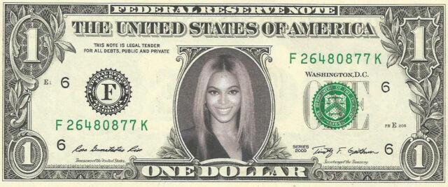 Beyonce (Design #2) - REAL Dollar Bill