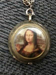 Swiss Made Lucerno Vintage Mechanical Wind Up Necklace Pendant Watch Mona Lisa