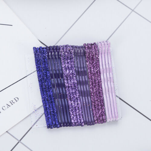 24Pcs Candy Color Glitter Bobby Pins Metal Barrettes Hair Clips Wavy Hairpins