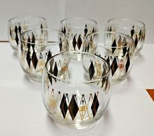 vtg Federal Harlequin Black and Gold Diamond Roly Poly Set 6 glasses VGUC #95103