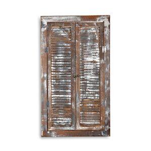 70x40cm wandspiegel fensterladen ablage shabby braun holz spiegel antik look 4251258902691 ebay. Black Bedroom Furniture Sets. Home Design Ideas