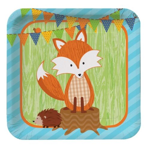 Forest Fox | Hedgehog | Snail | Flag Bunting 23cm Paper Party Plates 1 48pk