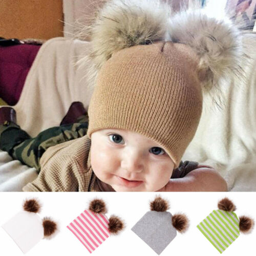 Outdoor Striped  Winter Warm Hat  Pompom  Beanie Faux Fur  Double Ball Baby Cap