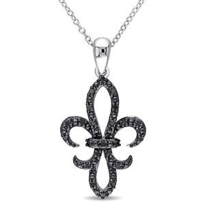 1-00-Carat-Black-Diamond-Fleur-de-Lis-Pendant-Necklace-Sterling-Silver-Finish