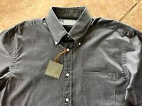 Thomas Dean Shirt Button Down Mens S Black Herringbone Long Sleeve $125 Nice