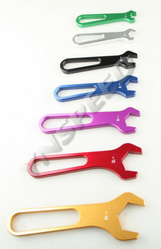AN 3 AN4 AN6 8AN 10 12 16 ALUMINUM FITTING WRENCH SET SINGLE ENDED SPANNER 7PC