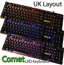 Metro Comet Backlit Wired Gaming Keyboard UK Layout Compact 3 Colour Mechanical